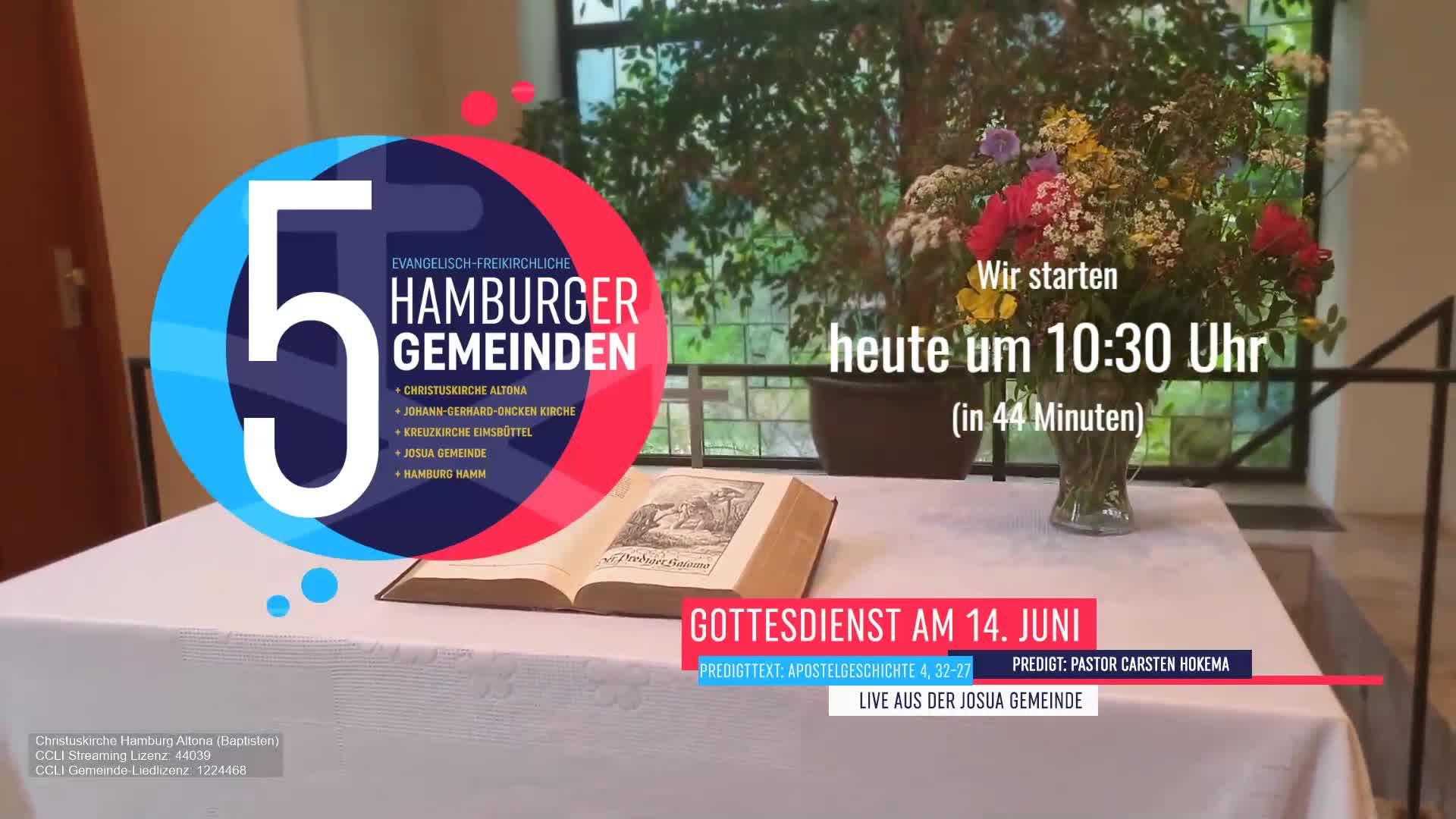 Gottesdienst (Aufzeichmung) der Innenstadtgemeinden (EFG) 14. Juni