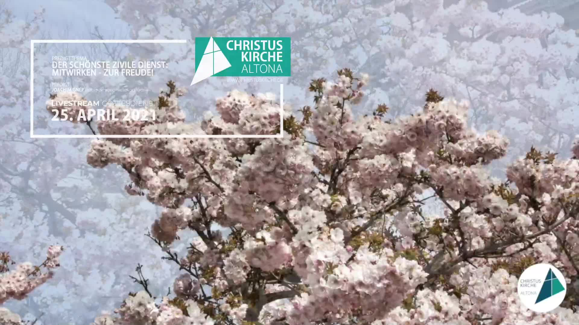 Gottesdienst - am 25. April - Livestream aus der Christuskirche Altona